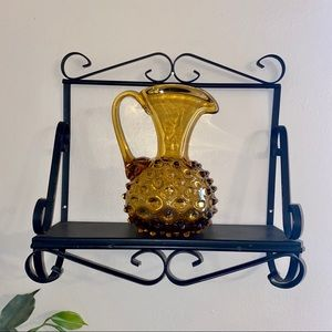 1950's Empoli Amber Hobnail Glass Italian